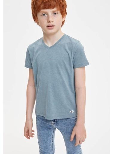 DeFacto Erkek Çocuk Basic V Yaka Kısa Kollu Tişört Mavi